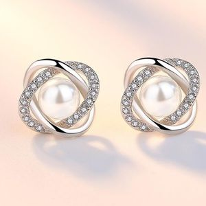 925 Silver Pearl Diamond Cluster Earrings